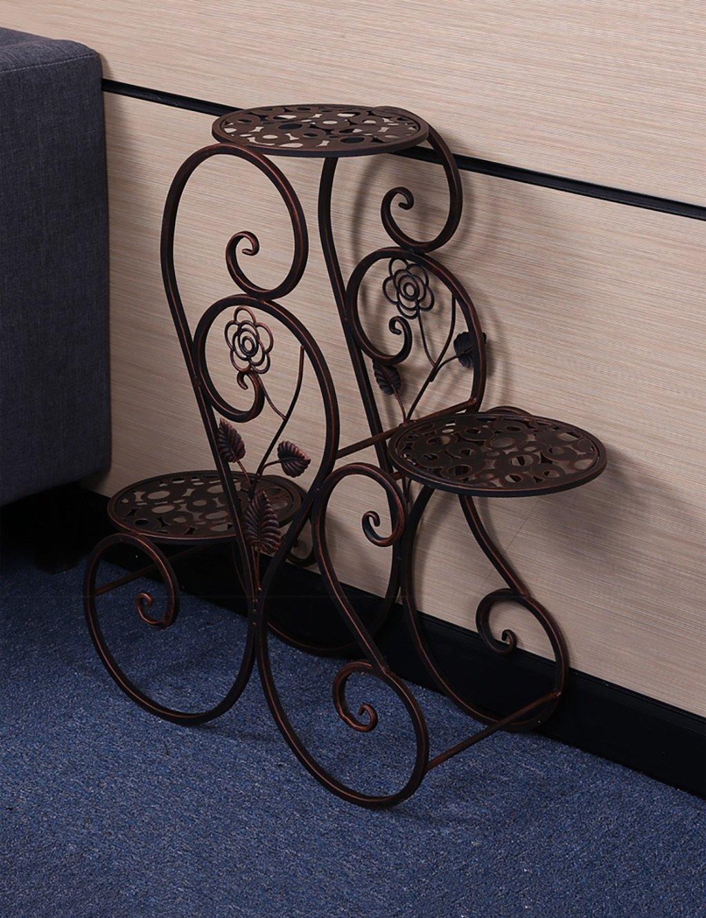 Blumenregal Iron Floor 3-lagiges Blumentopfgestell Amerikanischen ländlichen Innen-und Außenbereich Regal ( farbe : Messing , größe : 63cm*24cm*68cm )