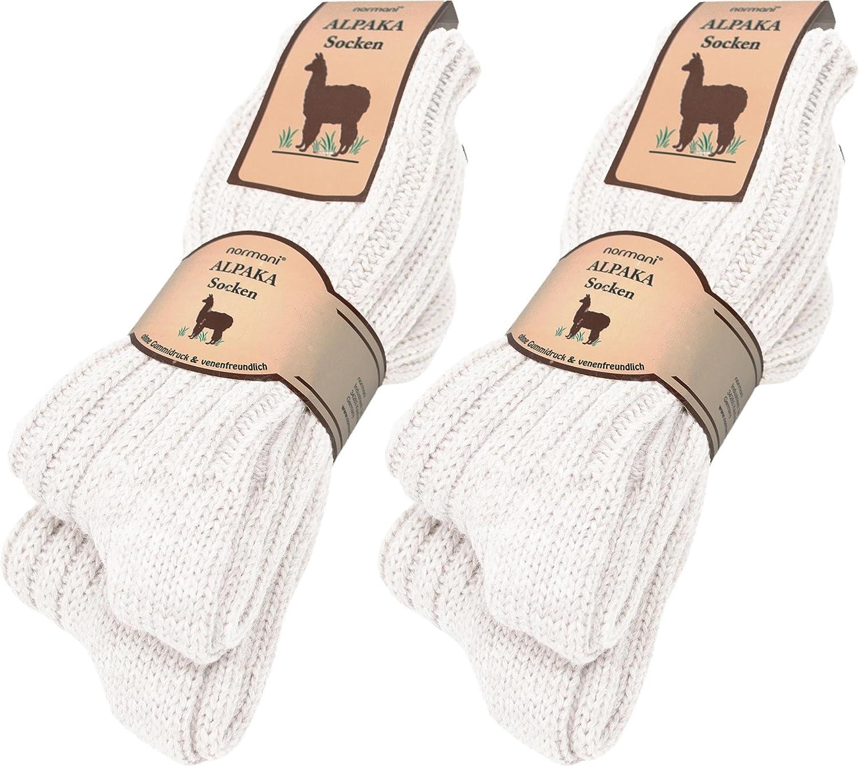 normani 4 Paar sehr dicke flauschige warme Alpaka Socken - mit Alpakawolle