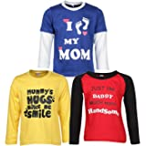 Goodway Pack of 3 Boys Full Sleeve Colour T-Shirts Mom & Dad Theme-2