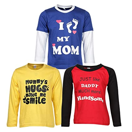 Goodway Boy's Cotton Full Sleeve Mom and Dad Theme T-Shirts - Pack of 3 Boys' T-Shirts at amazon