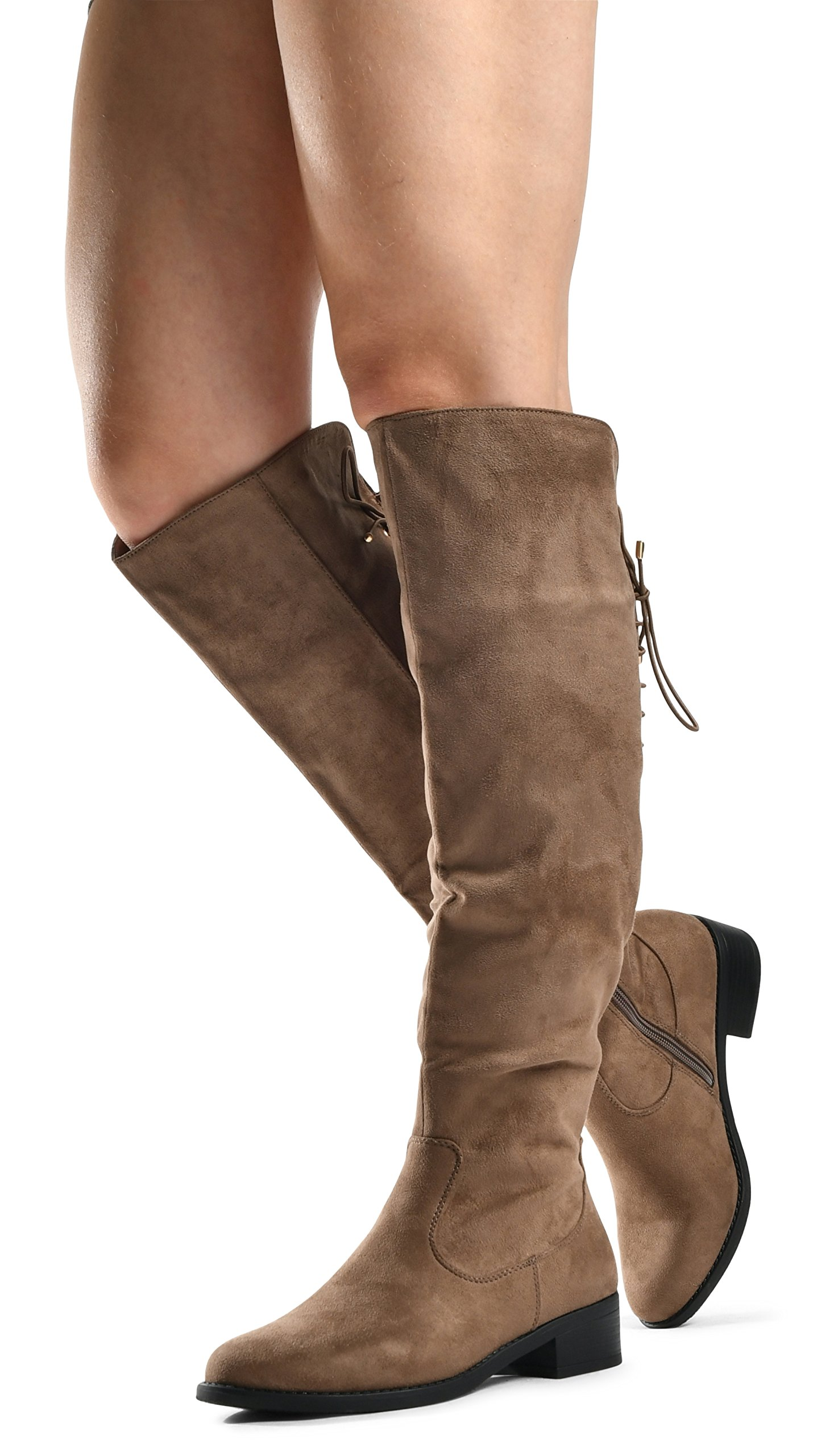 LUSTHAVE Women's Knee High Flat Low Heel Lace up Cushioned Lining Drawstring Almond Toe High Tall Boots Dark Taupe 8