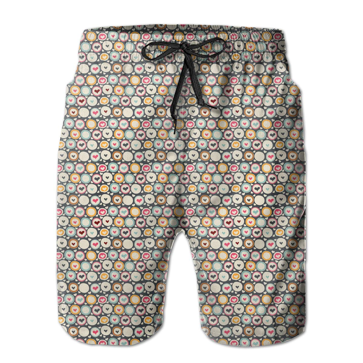 Hearts in Circles Pattern Mens Fashion Beach Board Shorts Slim-Fit Pockets Bathing Suit