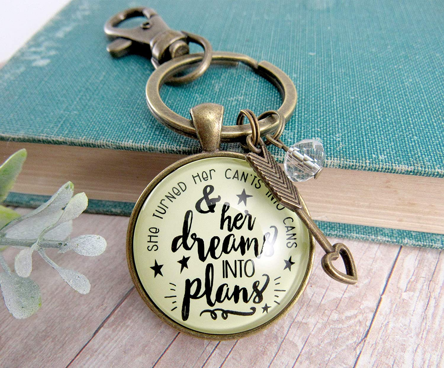 Gutsy Goodness Dreams Into Plans Keychain Positive Life Words Boss Lady Jewelry