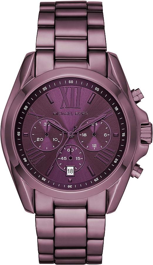 Amazon.com: Michael Kors Women's Bradshaw Quartz Watch with Stainless Steel  Strap, Purple, 22 (Model: MK6721): Michael Kors: Watches