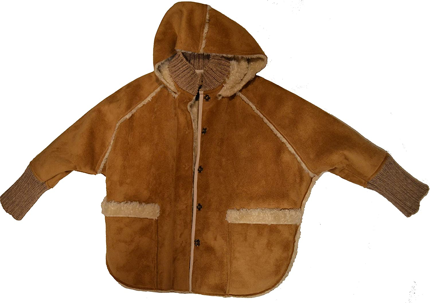 Catimini Fluff Warm Stylist and Chic Coat with Hoodie Size 5 Light Brown: Clothing