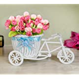 TIED RIBBONS Cycle Shape Plastic Flower Vase with Peonies Bunches (10.01 cm x 11.99 cm x 21.01 cm, Pink)