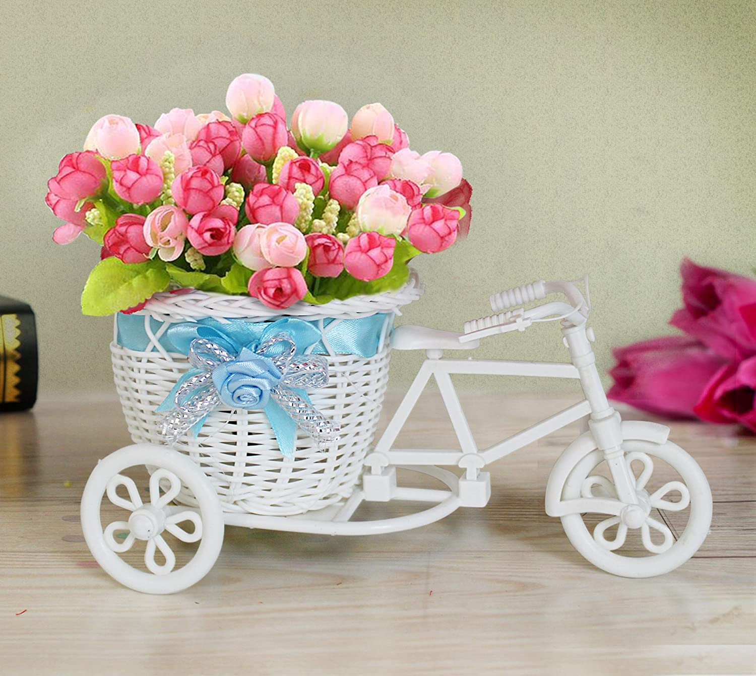 Buy tied ribbons cycle shape flower vase with peonies bunches buy tied ribbons cycle shape flower vase with peonies bunches online at low prices in india amazon reviewsmspy