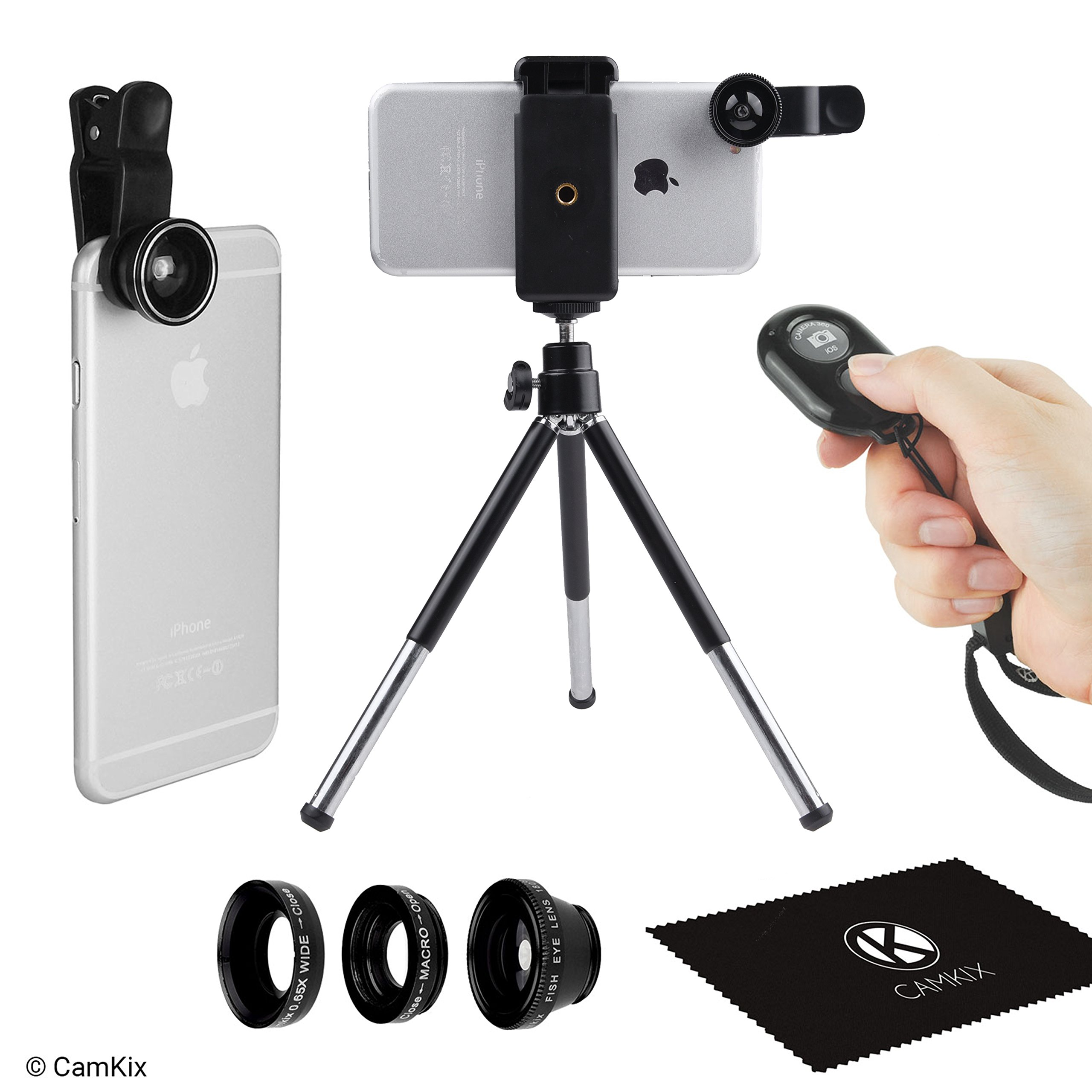 Universal 3in1 Camera Lens Shutter Remote + Tripod Kit for Smartphones, including Bluetooth Camera Remote, Fish Eye, 2in1 Macro and Wide Angle, Lens Clip, Tripod, Phone Holder, Bag and Cleaning Cloth by CamKix