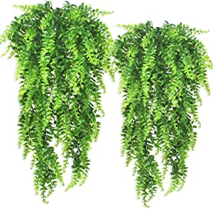 Ollain Artificial Boston Fern Vines Ferns Persian Rattan Greenery Fake Plants Faux Plant Vine Outdoor UV Resistant for Wall Indoor Hanging Garland Backdrop Arch Wall Decor (2Pcs Boston Fern Vines)