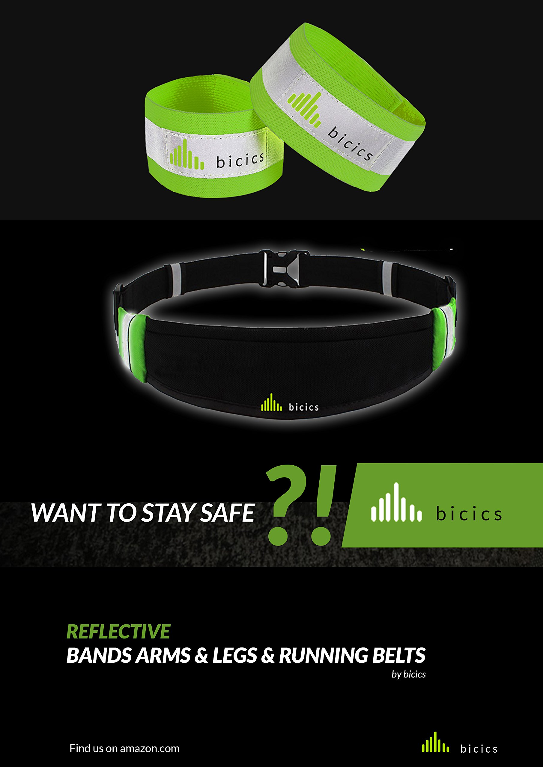 The Four Knox: 1 Running Belt + 2 Reflective Bands + 1 Fabric Bag / Running Belt – Running Gear - Waist Bag – Fitness Workout Belt– Reflective Bands - #1for Running, Cycling, Hiking – Eco Design.