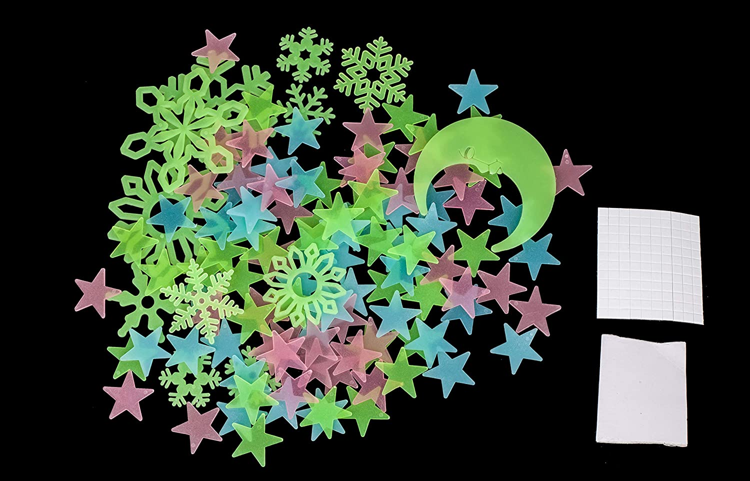 112pcs Stars Luminous Stickers Glow in The Dark Sticker Decals Plastic Noctilucan for Kids Baby Rooms Colorful Fluorescent Toy