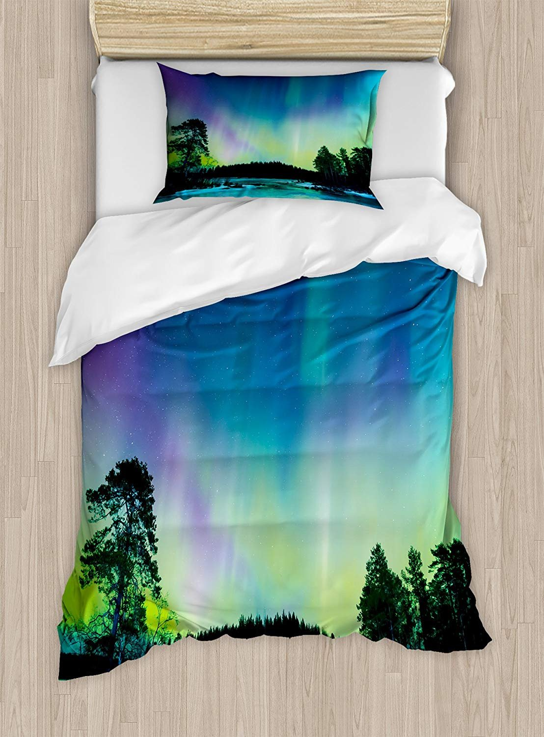 Fantasy Star Twin XL Extra Long Bedding Set,Aurora Borealis Duvet Cover Set,Sky Over Lake Surrounded Forest Woods Hemisphere Print,Include 1 Flat Sheet 1 Duvet Cover and 2 Pillow Cases