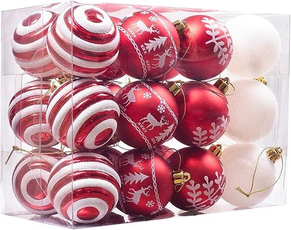 Valery Madelyn 24 Piezas Bolas de Navidad de 6cm, Adornos Navideños para Arbol, Decoración de Bolas de Navidad Inastillable Plástico de Rojo y Blanco, Regalos de Colgantes de Navidad (Tradicional): Amazon.es: Hogar