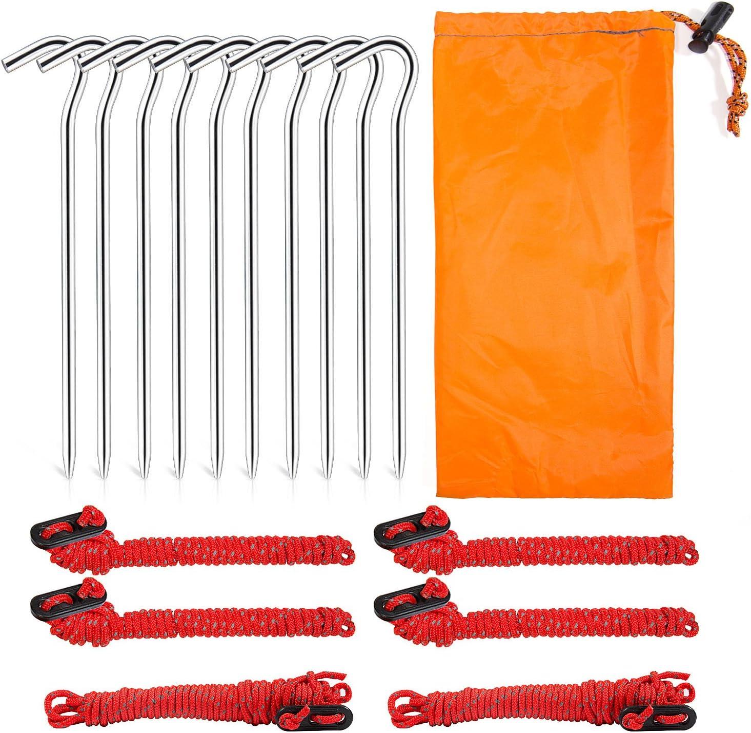 Mooklin Tente Guy Ropes Piquets de Tente en alliage d/'aluminium avec cordon de serrage Sac Guy Lines