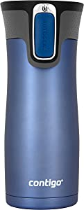 Contigo AUTOSEAL West Loop Vaccuum-Insulated Stainless Steel Travel Mug, 16oz, Monaco Trans Matte