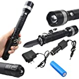 ledsniperBrightest Tactical Flashlight Torch ,Multifunctional Self Defense Survival Knife, Adjustable Focus Zoomable, CREE Q5 LED, 3 Modes, 500 Lumens,Outdoor Sport come with wall&car charger