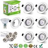 Liqoo® 6 x Spots Encastrables GU10 LED 6W Lumière Blanc du Jour Lampe Projecteur SMD Ampoule LED avec Fixation Recessed Cadre rond de Montage GU10 Douille 550lm Equivalente Incansdance de 40W (LED spots inclus)