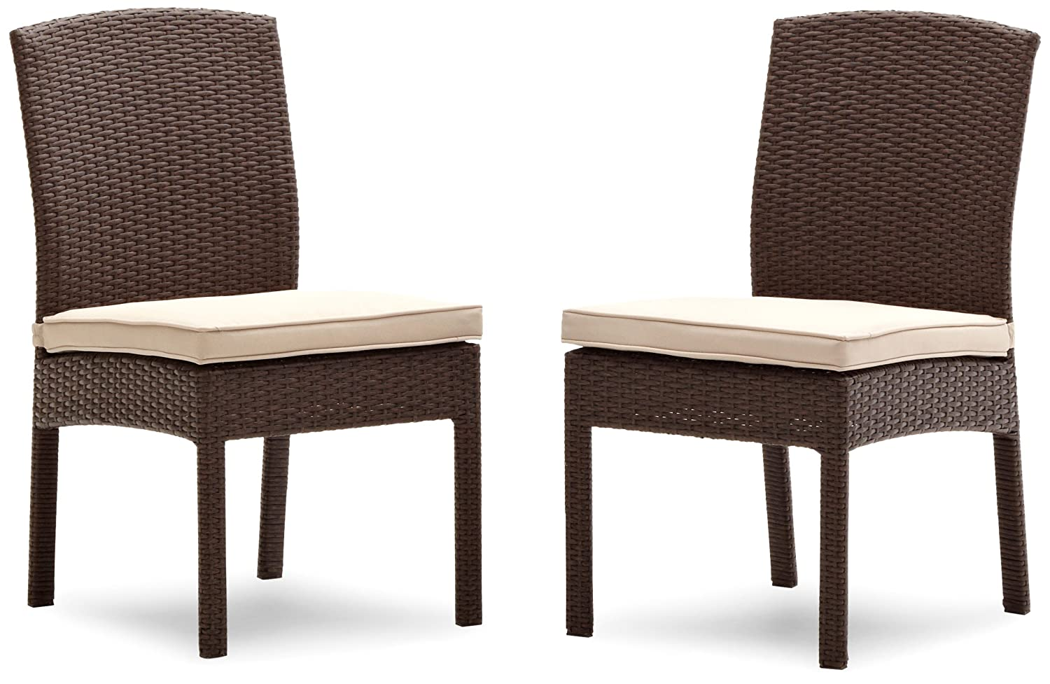 Amazon.com : Strathwood Griffen All-Weather Wicker Dining Armless Chair,  Dark Brown, Set of 2 : Patio Dining Chairs : Garden & Outdoor