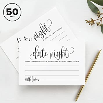 Review Date Night Ideas Cards, For Bridal Shower, Married Couples, Bride and Groom — Pack of 50 4x6 Cards from Bliss Paper Boutique