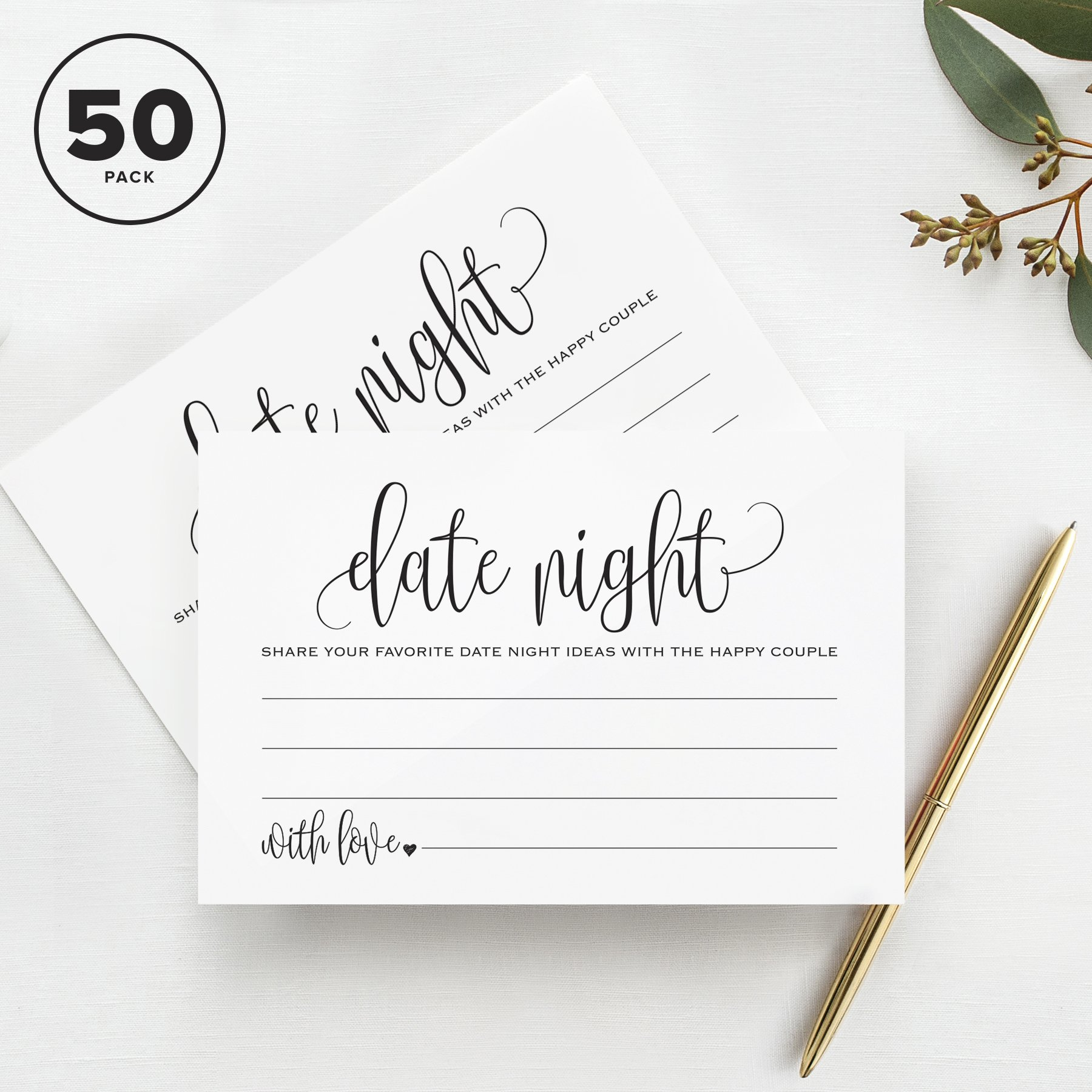 Date Night Ideas Cards, For Bridal Shower, Married Couples, Bride and Groom — Pack of 50 4x6 Cards from Bliss Paper Boutique by Bliss Paper Boutique