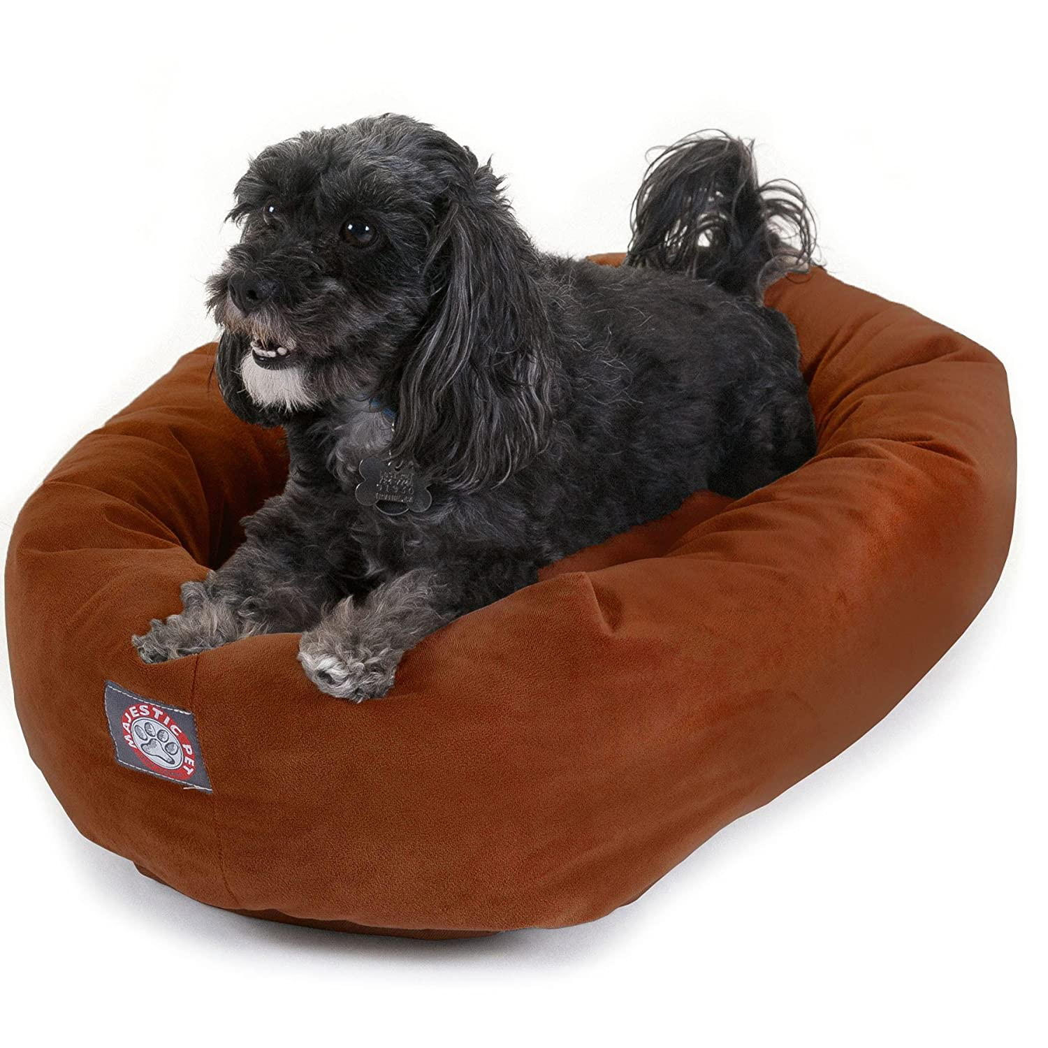 Rust 24InchMajestic Pet 32 Inch Stone Suede Bagel Dog Bed By Products