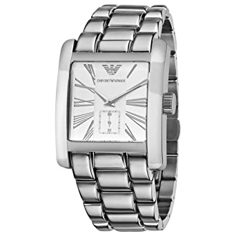 Emporio Armani Mens AR0182 Classic Stainless Steel Silver Roman Numeral Dial Watch