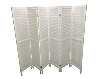 Admirable White 6 Panel Wooden Slat Room Divider Partition Privacy Screen Home Interior And Landscaping Fragforummapetitesourisinfo