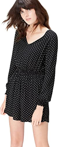 TALLA 46. Marca Amazon - find. Mono Mini de Lunares para Mujer