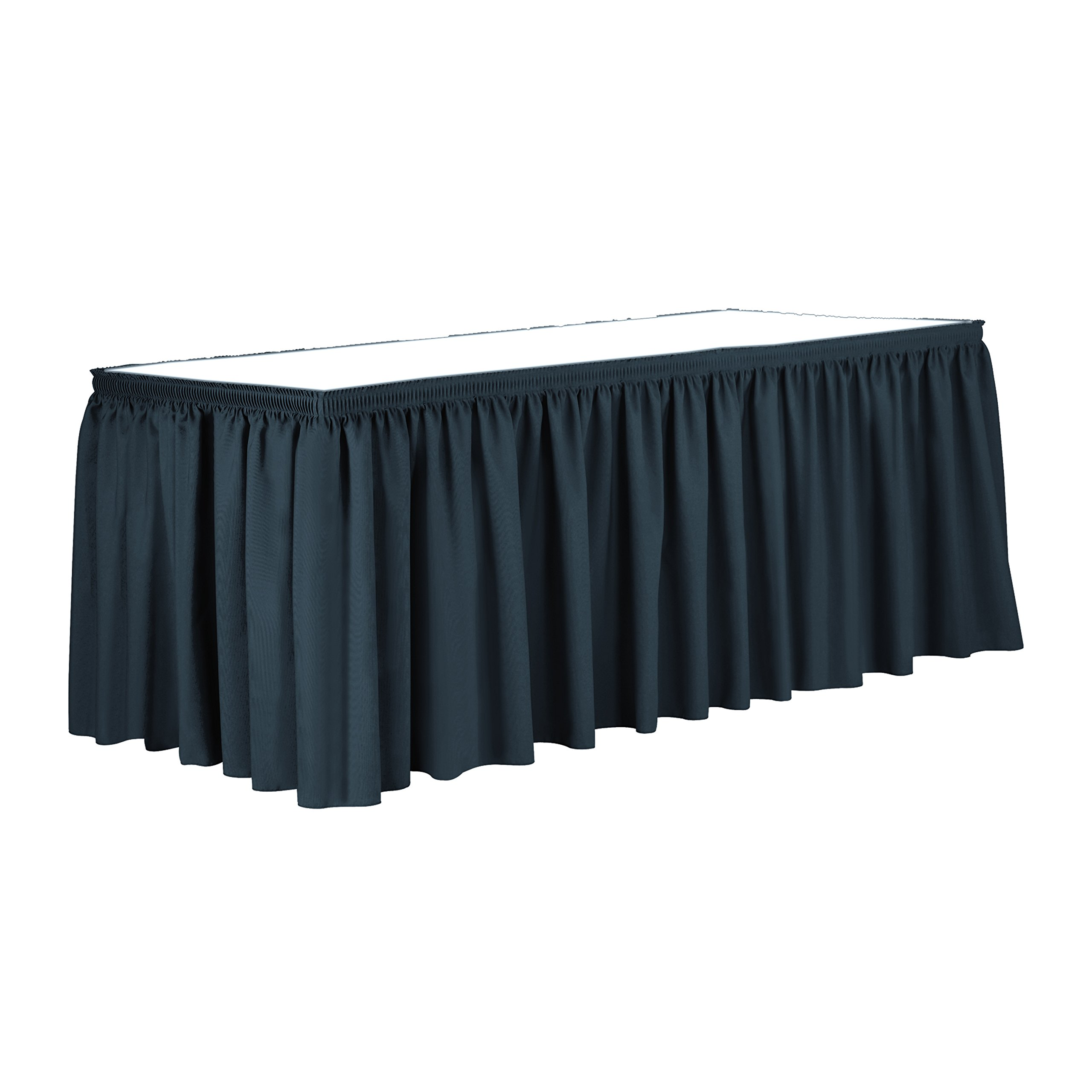 Ultimate Textile 14 ft. Shirred Pleat Polyester Table Skirt - 36'' Counter Serving Height, Wedgewood Blue