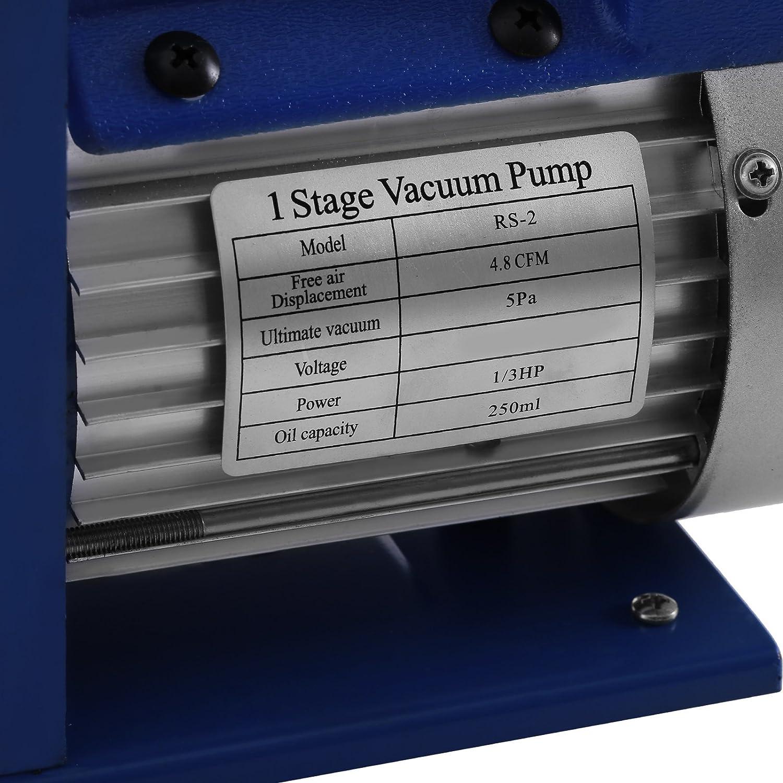 4.8CFM1//3HP 4Valve VEVOR Vacuum Pump Kit HVAC Single Stage AC Vacuum Pump 4.8CFM 1//3HP Air Vacuum Pump with 4 Valve A//C Manifold Gauge Set Refrigerant Air Conditioning