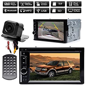 in Dash Car Radio Double Din Stereo with Backup Camera for Ford Expedition 2003-2006, 6.2 Inch Touchscreen Support Bluetooth Hands-Free Calling Mirror Link for iOS/Android Phones CD DVD Player