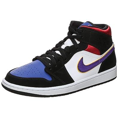 Jordan 1 Mid SE BlackField Purple White Gym Red scarpe