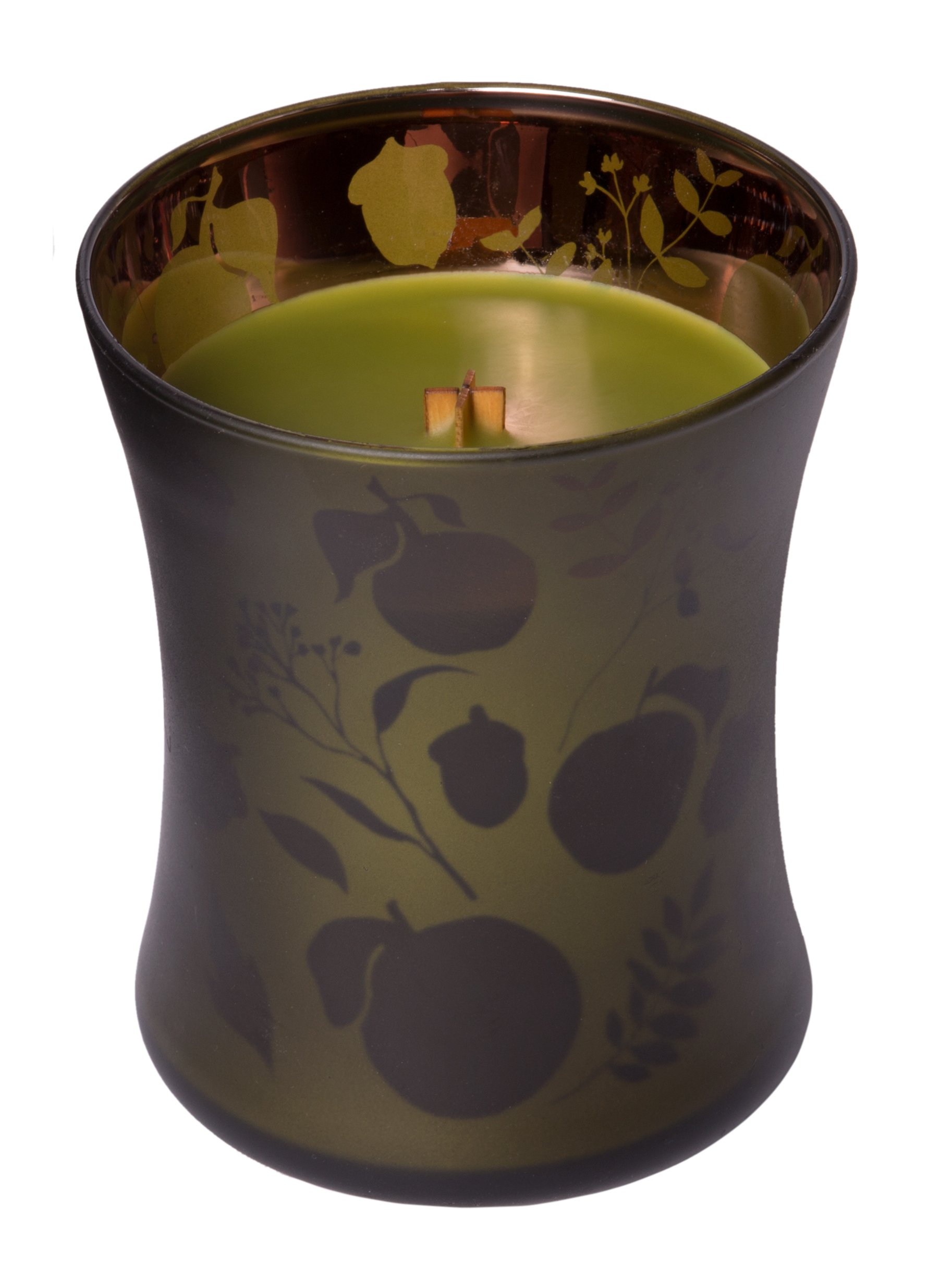 WoodWick Apple Basket, Highly Scented Candle, Dancing Glow Hourglass Jar, Medium 4-inch, 9.7 oz