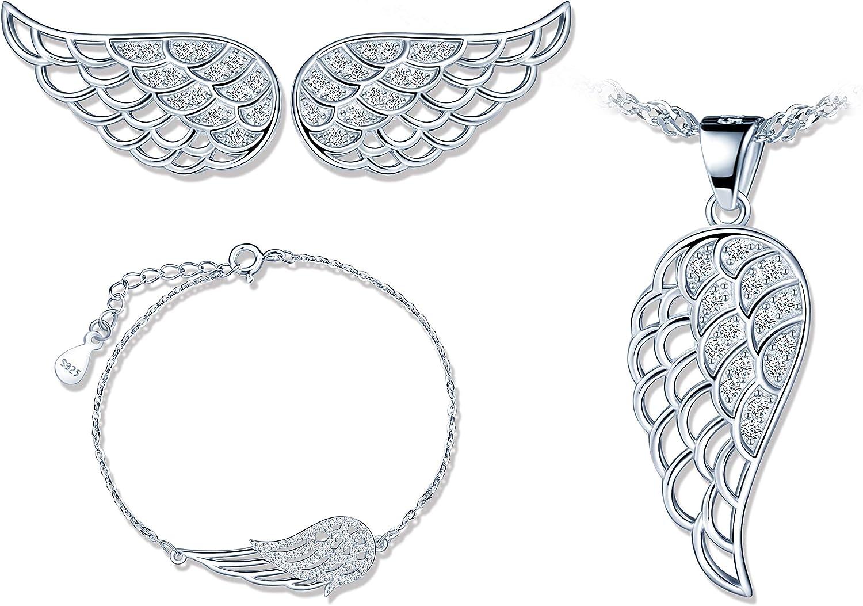 925 conjuntos de joyas de plata, lindo collar de alas de ángel, aretes de alas de ángel y pulsera de alas de ángel, joyería de mujer niña, circón con ...