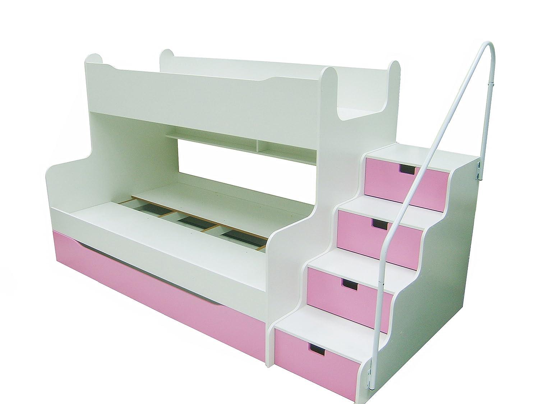Parisot Etagenbett Bibop : Etagenbett max 4 mit schubkastentreppe in weiß pink: amazon.de