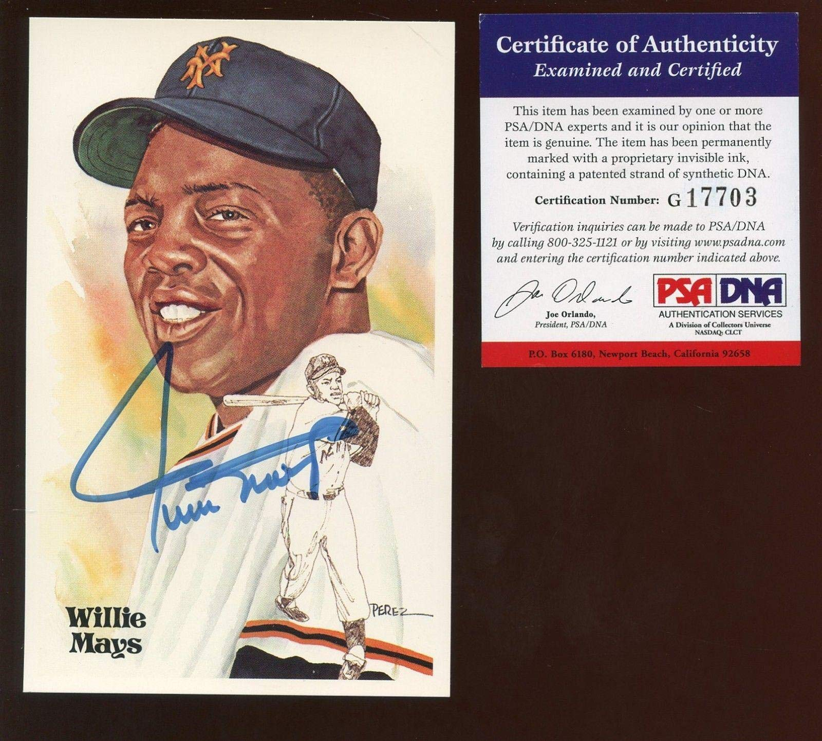 1981 Perez Steele Baseball Postcard Willie Mays Autographed PSA Cert MLB Cut Signatures