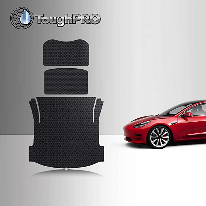 Fransande Model 3 Front and Rear Trunk organizer All Weather Trunk Liner Durable TPE Cargo Storage Mat for Tesla Model 3,2 Pack