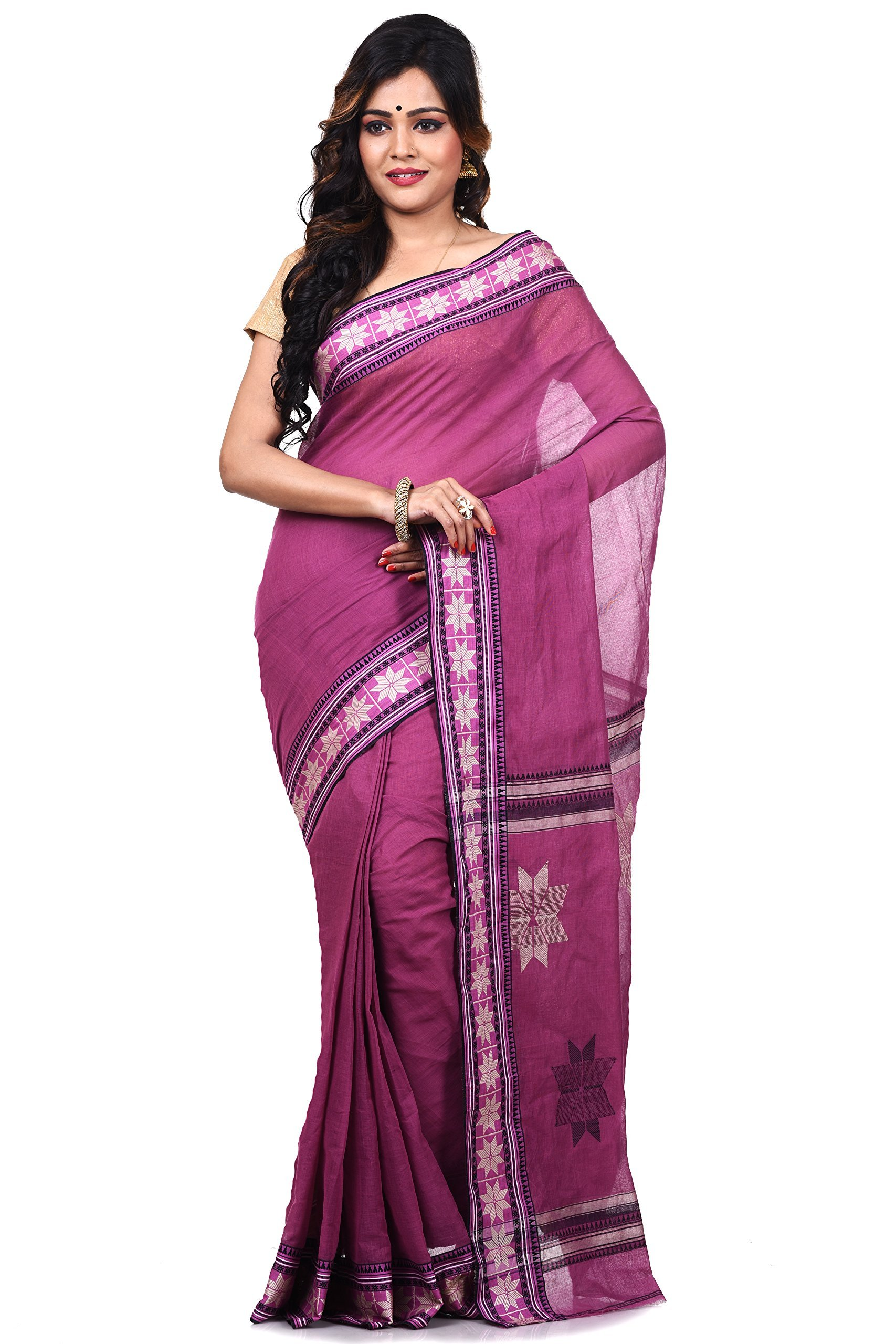 Bengal Handloom Saree Women's Pure Cotton Tangail Free Size Maroon