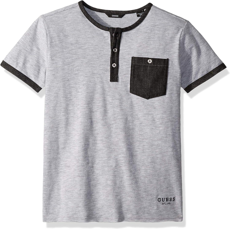 GUESS Boys Short Sleeve Color Trim Henley Shirt