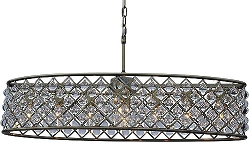 Cassiel 30 Inch Oval Crystal Chandelier, Antique Brass