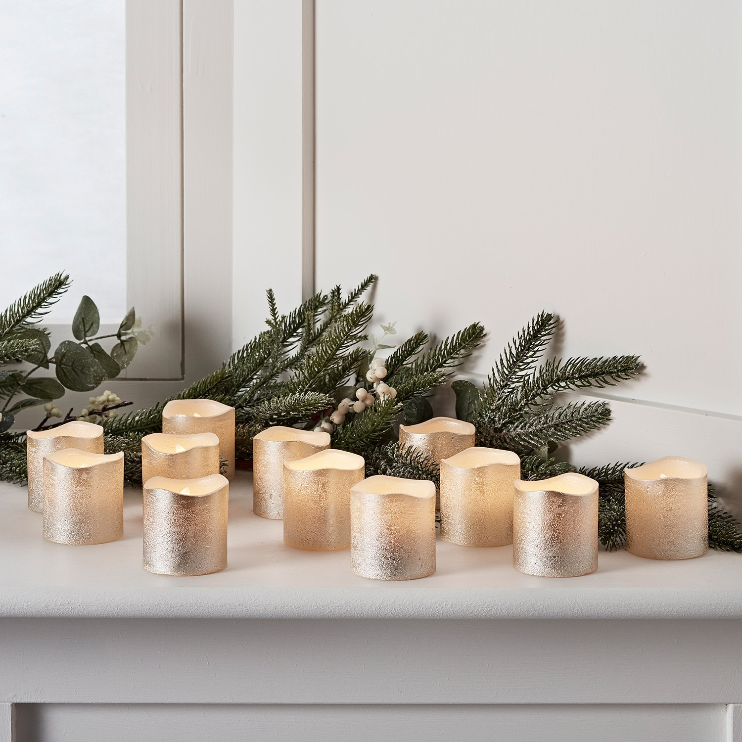 Lights4fun, Inc. Set of 12 Champagne Gold Wax Battery Operated Flameless LED Votive Tealight Candles by Lights4fun, Inc.