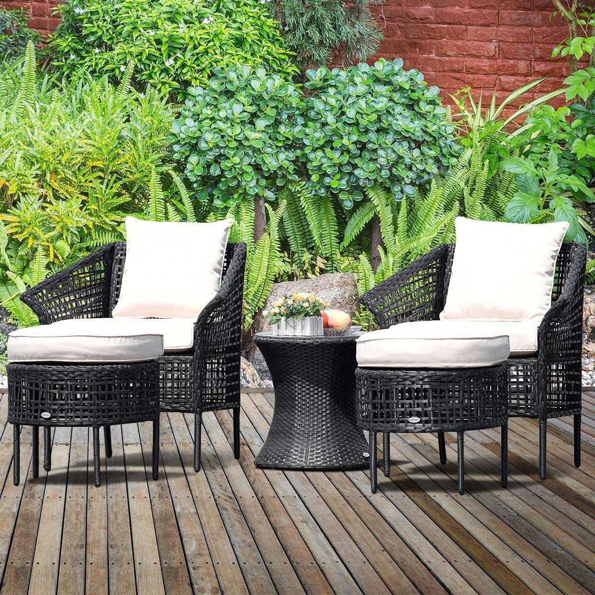Tangkula 5 PCS Patio Rattan Sofa Ottoman Furniture Set Outdoor Garden Lawn Wicker Rattan Conversation Sofa Set w Cushions Beige