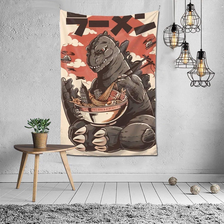 Vertical Tapestry Kaiju's Ramen Godzilla Wall Tapestry Home Dorm Wall Decor 60x40 Inch