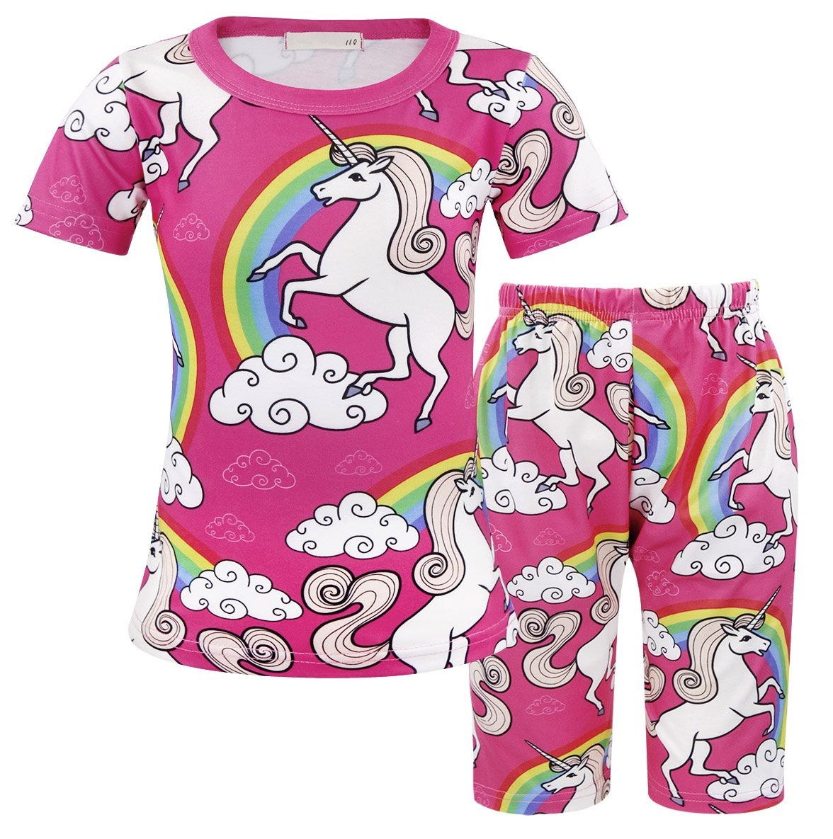 4af604c8 Galleon - AmzBarley Little Girls Pajamas Sets Unicorn 2-Piece Top And Shorts  Pyjamas PJS Sleepwear Pink Age 5-6 Years Size 6