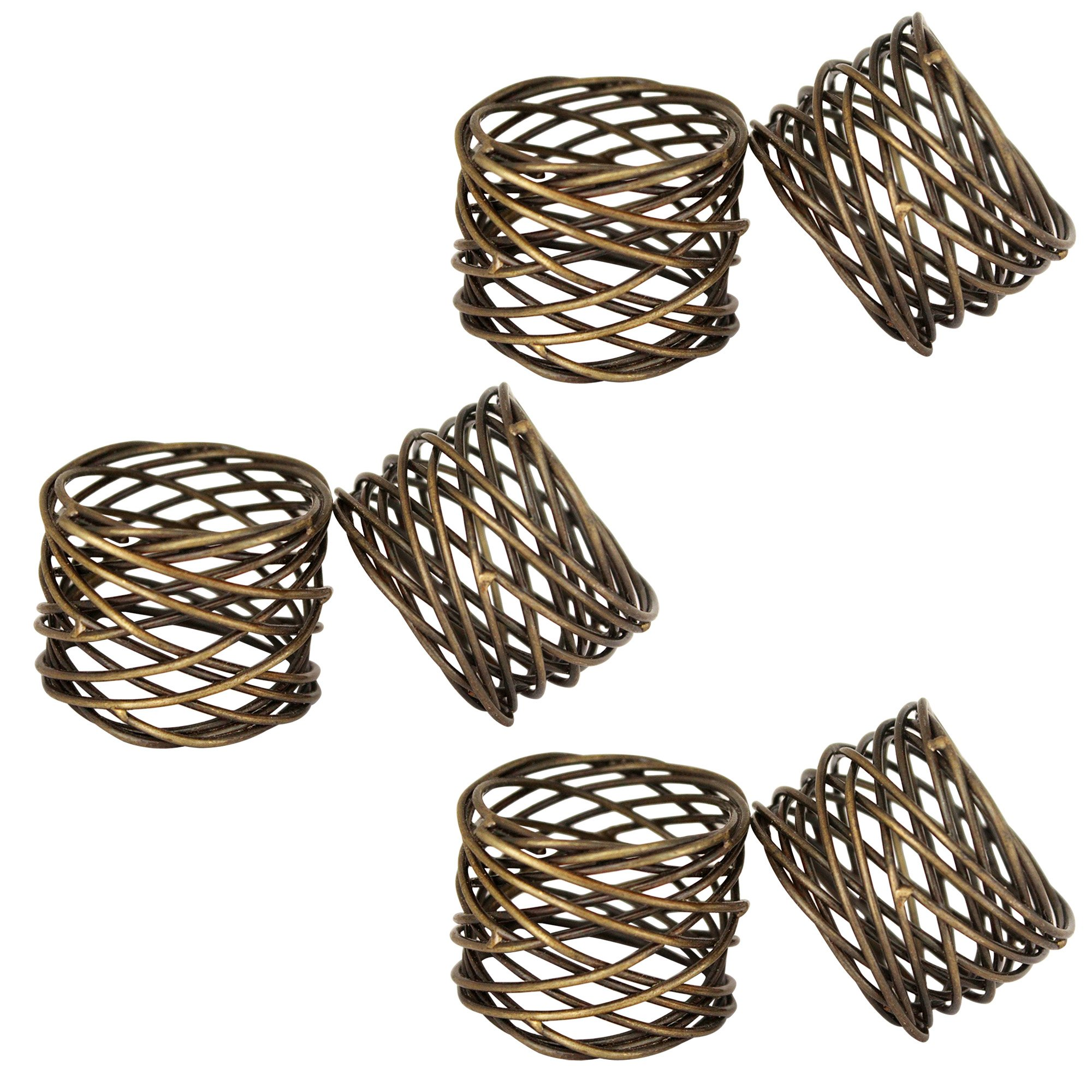 ITOS365 Handmade Round Mesh Napkin Rings Holder Dinning Table Parties Everyday, Set of 6