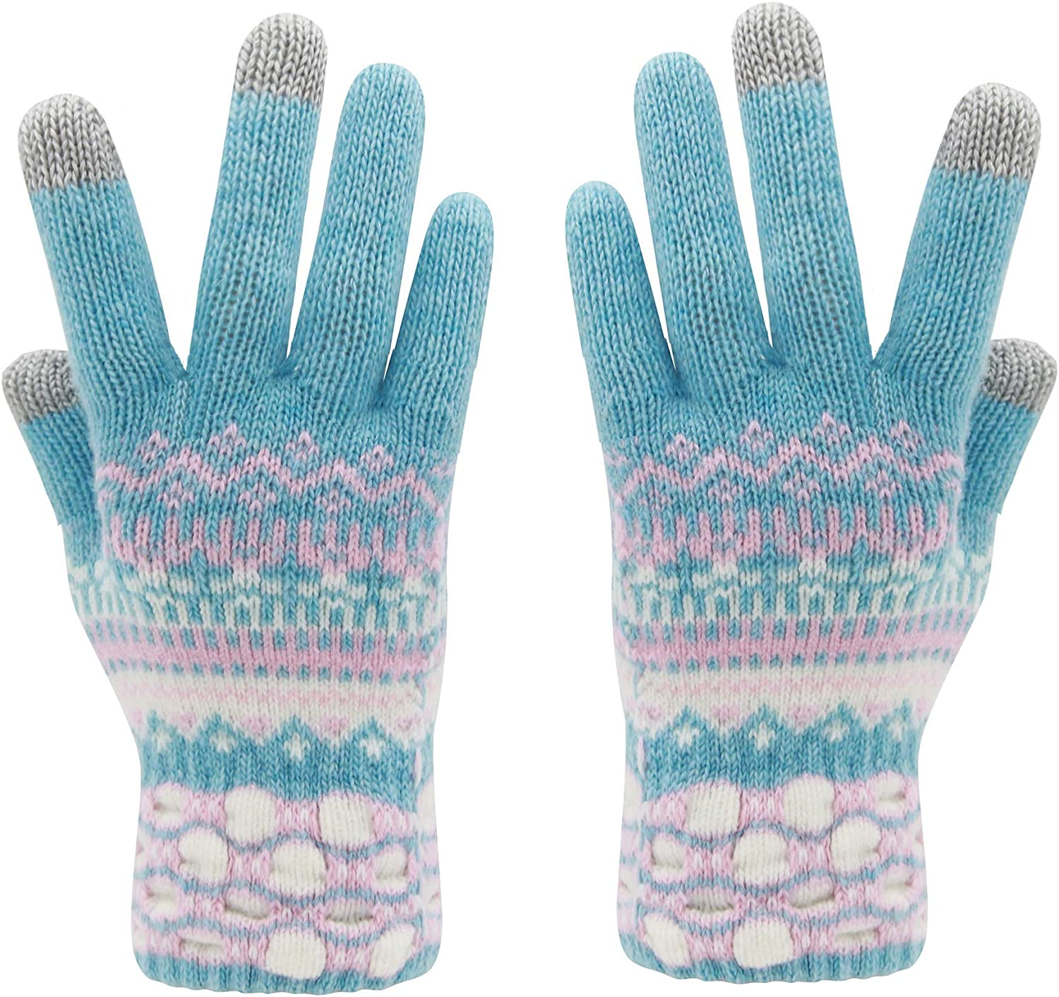 Womens Winter Touchscreen Gloves Knit Wool Warm Dual-layer 3 Fingers Thermal Soft Wool Anti-Slip Touch Screen Mitten Glove