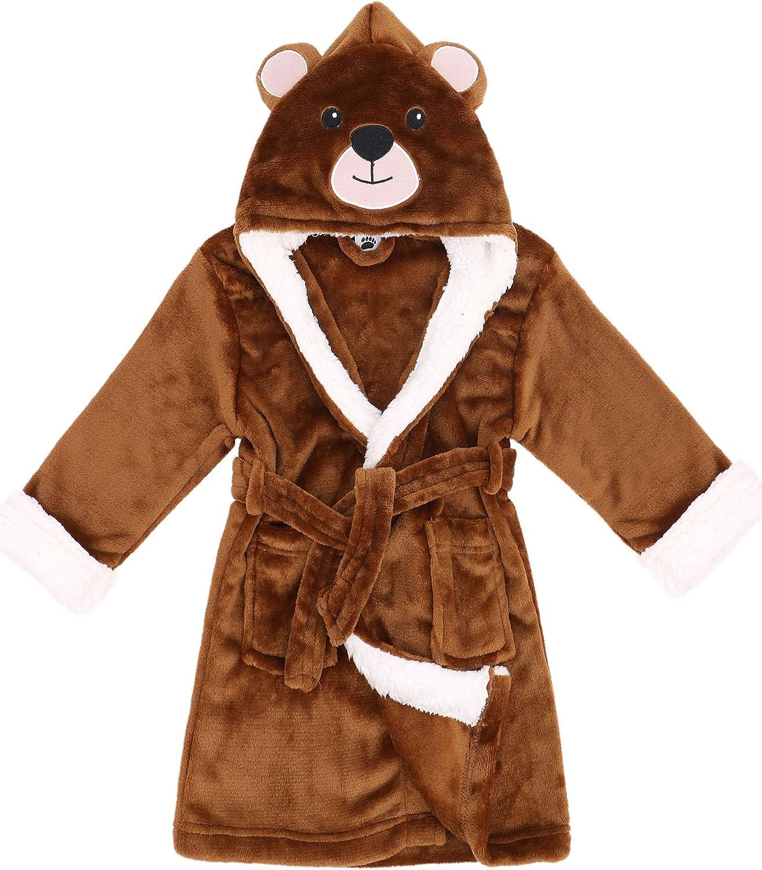Kids Winter Plush Warm Hooded Robe Arctic Paw Boys Girls Bathrobe