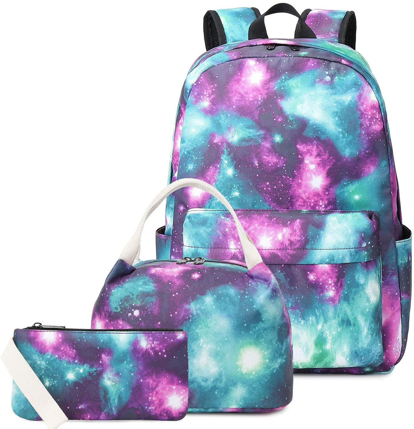 "Pawsky Waterproof Galaxy Canvas Backpack Set for College Girls Women Fits 14"" Laptop Backpack Daypack School Bookbag with Lunch Box and Pencil Case"