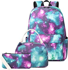 """Pawsky Waterproof Galaxy Canvas Backpack Set for College Girls Women Fits 14"""" Laptop Backpack Daypack School Bookbag with Lunch Box and Pencil Case"""