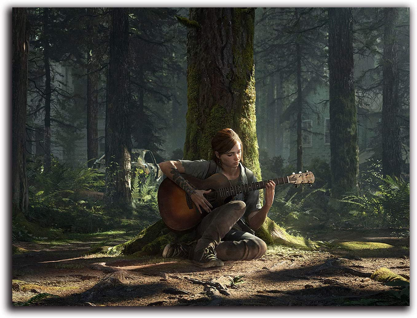 """The Last of Us Part 2 Canvas Wall Art 36"""" x 24"""" Game Concept Poster Ellie Playing Guitar Dorm Wall Decor Chic Office Art, Unframed/Frameable"""